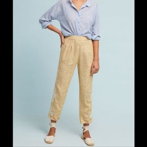 Anthropologie Linen Embroidered Ankle Pants, Sz XL